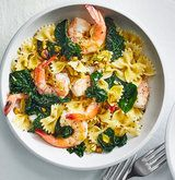 Farfalle with lemon, shrimp, and kale recipe from Real Simple magazine. Farfalle with lemon, shrimp, and kale recipe from Real Simple magazine. Shrimp Recipes, Fish Recipes, Appetizer Recipes, Dinner Recipes, Farfalle Recipes, Zoodle Recipes, Kale Recipes, Cooking Recipes