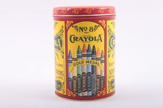 Vintage Tin No. 8 Crayola Crayon Metal Craft Home Decor 1980s Remake of Antique Tin  The Pink Room 170117 by ThePinkRoom