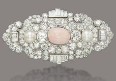 Pink Cabochon Oval Pearl Baguette Art Deco Style Brooch 925 Sterling Silver Cz* #NikiGems