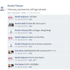 koichiidesu:  What happens when #AkaKuro finally snaps. Hohoho. //hums Barney's song// #knb #facebook