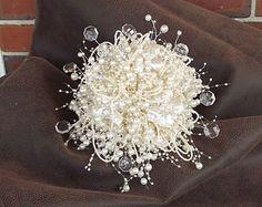 Stunning pearl wedding bouquet, bridal bouquet, bridesmaid bouquet, florist made, ivory pearls, alternative bouquet, jewelry bouquet