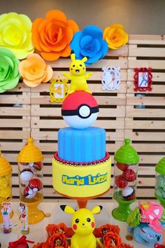 Pikachu Pokemon cake from a Girly Pokémon Birthday Party on Kara's Party Ideas | KarasPartyIdeas.com (27)