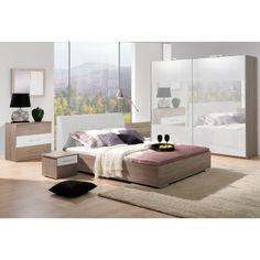 chambre adulte complte design coloris chne et blanc - Bebe Chambre Complete