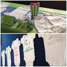 Onesie painting station for a golf theme baby shower