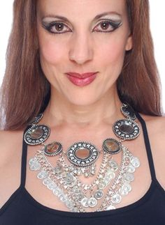 Coin Necklace with Large Mirror Medallions and Stones at Bellydance.com
