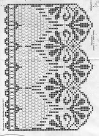 World crochet: Curtain 58 Filet Crochet, Annie's Crochet, Crochet Lace Edging, Crochet Borders, Crochet Diagram, Crochet Chart, Thread Crochet, Crochet Trim, Crochet Doilies