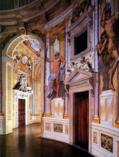 The interior frescoed rotunda of Palladio's Villa Capra, Vicenza, Veneto IT