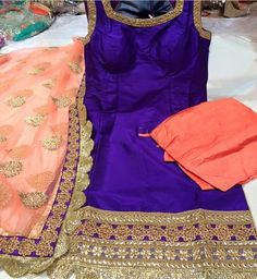 Loving this royal purple and peach combination for summer! Suit by Phulkari…