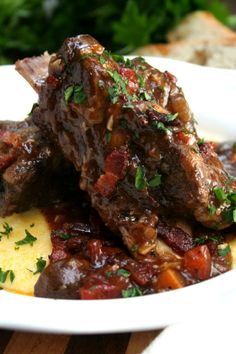 Guinness Braised Short Ribs over creamy polenta