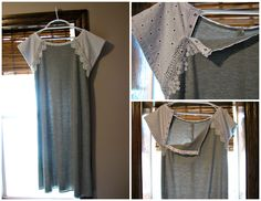 Gray and white maternity hospital gown (delivery or postpartum). I sewed this by copying a gown made by Gownies. Snaps open all the way on both sides to allow for easy IV access and breastfeeding access (in this photo there is still one snap holding the sleeve in place). I hand stitched large lace over top to disguise the snaps. The back of the gown opens easily with Velcro incase an epidural is required.. Planning to use this after delivery as a hospital friendly nightgown.