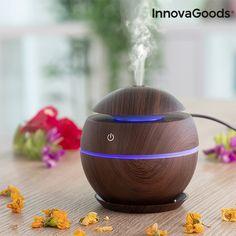 Aroma Diffusor Verdunster Home Deco, Usb, Relaxing Oils, Mini, Dark Walnut, Humidifier, Air Freshener, Innovation Design, Lights