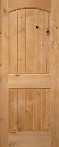 "Classic rustic interior door. 6'8"" 2-Panel Arch V-Groove Knotty Alder Interior Wood Door Slab"