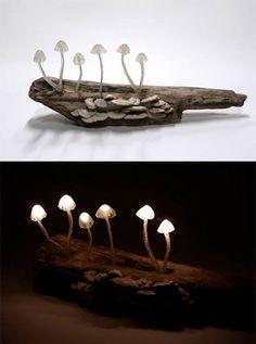 Mushroom lamp no 6 by Yukio Takana Cool Lighting, Outdoor Lighting, Lighting Design, Light Of My Life, Light Up, Mushroom Lights, Driftwood Lamp, Forest Decor, Lamp Design