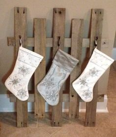 I can't be the only person who loves to decorate for Christmas but has no  fireplace. Every year that I've lived in my current house, I try to come up  with creative ways to hang stockings, but they usually end up just laying  around by the tree. That's so sad. Limp, pitiful stockings. I also needed a  place to hang my Advent Calendar. SO this year, I think I finally figure  out something I like!  I saw some ideas on Pinterest for hanging stockings, so here was my  inspiration:  Here's the…