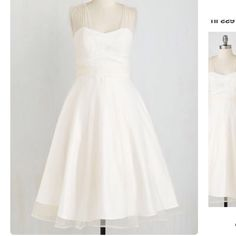 """ModCloth When Life Brings Elegance wedding dress M Gorgeous! Would make a fantastic wedding dress. Brand new, never worn, with tags. Sold out online! Sheer straps, sweetheart bodice, full tulle skirt. Overlay 100% nylon, shell 96% synthetic, 4% spandex. Fully lined, side zip closure. 43.5"""" long. By Collectif. Tag reads size M, UK 12 (which corresponds to US 8). ModCloth Dresses Midi"""