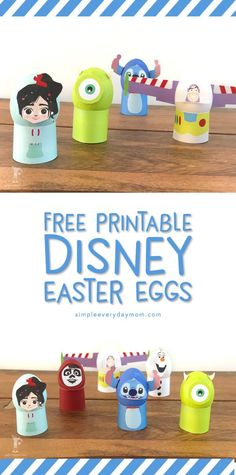 Disney Easter Egg Decorating Ideas   Toddlers, older kids and even adults will love these DIY Disney Easter eggs! Free printable faces and wraps, just paint the eggs and you're set.