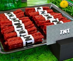 Transform the red licorice at your kid's birthday party into a convincing stick of Minecraft style dynamite. Simply print these small wraps and place them over some Twizzlers to make them look like the 8-bit TNT blocks from the iconic video game.