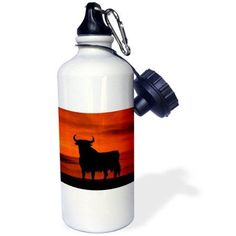 3dRose Osborne Bull Sign, Spanish National Momunent, few left on the Spanish roadsides, Sports Water Bottle, 21oz, White