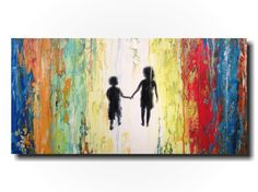 Original Large Abstract painting - 18 X 36 Inches-by Artist JMJartstudio- Always Friends-Wall art - Silhouette painting-Oil painting - child