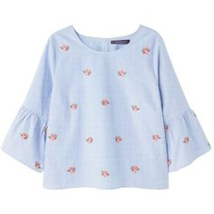 Violeta by Mango ABRILA - Blouse - sky blue for with free delivery at Zalando Cotton Blouses, Cotton Shirts, Floral Embroidery, Shirt Embroidery, Embroidered Blouse, Blue Tops, Blue Blouse, Quarter Sleeve, Clothes