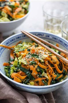 Raw Kale, Cabbage and Carrot Chopped Salad with Maple Sesame Vinaigrette