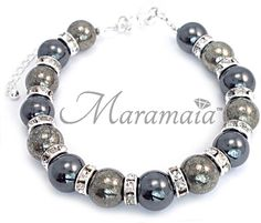 Fire Element Pyrite and Hematite Sterling Silver Bracelet. * Optimism * Protect  * Intelligence * Courage *Confidence         *Willpower.