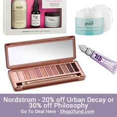 #Nordstrom has #Beauty Sale: 20% off #UrbanDecay or 30% off #Philosophy. Shipping is Free! Plus, select 3 beauty samples for Free at checkout.  Shop Now: http://www.shop2fund.com/coupon/20-off-urban-decay-or-30-off-philosophy/767708/