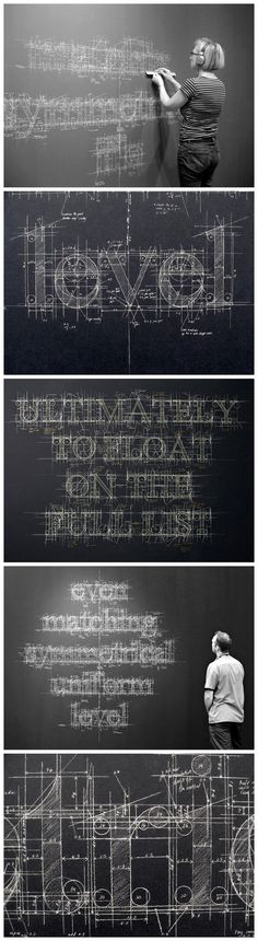 To Do with the old drafting tools  ... illustrating their 'archaic' use, LOL !      Liz Collini blackboard design