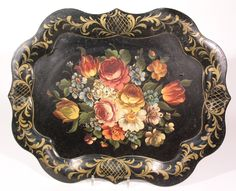 Victorian black Tole tray with hand painted floral motif.      decorativepainters.org  Learn to paint with us! With our step by step pattern based designs, anyone can become a Master Decorative Artist.