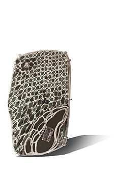 Displacement  II Brooch: Recycled sterling silver, vitreous enamel,  enamel paint, amethyst, pink CZ, stainless steel,  brass  7.6x3.8x1.9cm Photographer Steven Brian Samuels