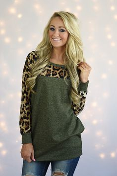 Olive Leopard Top – The Pulse Boutique