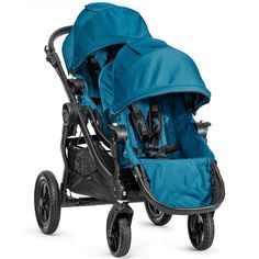 Baby Jogger City Select Black Frame Stroller w/ 2nd Seat, Teal