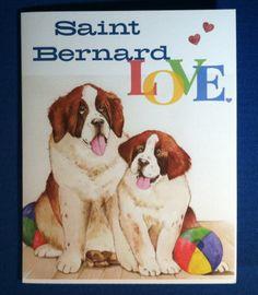 Saint Bernard Card www.MyPetArtwork.com FB Pg: Pet Portraits by Beth Weiner Lipson
