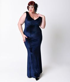 1930s Style Fashion Dresses Unique Vintage Plus Size 1930s Style Navy Blue Sleeveless Velvet Goldwyn Gown  Size 4XL $98.00 AT vintagedancer.com