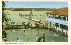 Old East Windsor's bathing Beach located where the current Alexander Park is now (Riverside Dr near Strabane) Windsor Ontario, East Windsor, Ford City, Essex County, Digital Archives, Detroit Michigan, Bathing, Cool Pictures, Past