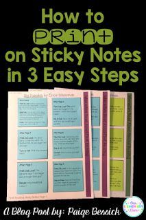 How to Print on Sticky Notes in 3 Easy Steps-Learn how with step-by-step directions and a free printable template. Perfect for school and in the classroom, use them for Interactive Read Alouds, data c Teacher Organization, Teacher Hacks, Teacher Stuff, Organizing Tools, Stationary Organization, Organized Teacher, Interactive Read Aloud, Interactive Notebooks, School Classroom