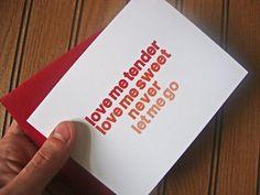 Valentine's Day card - Love me tender lyrics