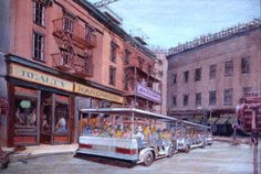 Concept Art - Tram driving along building facades