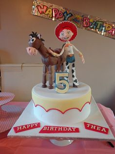 Children's+Birthday+Cakes+-+Jessie+and+Bullseye!  This+cake+i+made+was+for+my+youngest+daughters+fifth+birthday,+its+100%+edible.+  Figures+are+made+with+sugar+paste+and+modelling+chocolate,+body+of+bullseye+is+ricekrispie+treats.+  First+time+making+standing+up+figurines.+I+got+a+lot+of+inspiration+and+tips+from+many+talented+people+here+on+Cake+Central,+Hope+you+like+my+cake,+and+thanks+for+looking.