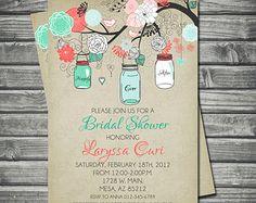 Bridal Shower Invitation - Mason Jar, Mint, Coral, Gray, Printable, Digital