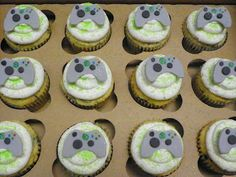 """These cupcakes and cookies were for a video game birthday party where the """"Game Truck"""" was coming to the house. Birthday Pins, Birthday Cupcakes, Boy Birthday Parties, Mini Cupcakes, Cupcake Cakes, Cup Cakes, Birthday Ideas, Video Game Cakes, Video Game Party"""