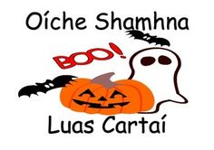 Common words associated with Halloween in Irish, Gaeilge, as printable flash cards.You can print them and laminate them. Free Halloween Coloring Pages, Free Coloring Pages, Halloween Treats, Happy Halloween, Trick Or Treat, Free Printables, Irish, Activities, Words