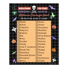 Halloween Coronavirus 2020 Scavenger Hunt List Flyer