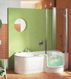 Small bathroom tub and shower combo corner bathtub shower combo Corner Bathtub Shower, Walk In Tub Shower, Walk In Tubs, Walk In Bathtub, Corner Tub Shower Combo, Bathtub Drain, Bath Shower Combination, Tub To Shower Conversion, Bathroom Renovations