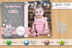 Elephant Birthday Invitation Pink and Grey by YellowFieldsDesigns