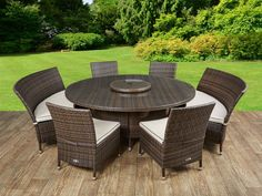 Zoey 6 Seater Dining Set with Cushions Sol 72 Outdoor Colour: Chocolate/Cream Best Outdoor Furniture, Garden Furniture, Antique Furniture, Modern Furniture, Growing Vegetables In Containers, Garden Dining Set, Garden Living, Girls Bedding Sets, Bathroom Accessories Sets