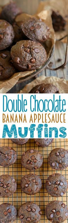 Double Chocolate Banana Applesauce Muffins are perfect for those days when you wake up craving chocolate. Easy, delicious and made without oil, butter, or eggs. The perfect breakfast or brunch recipe! | http://MomOnTimeout.com | #vegetarian #vegan