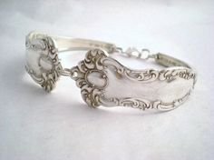 Amazing jewelry made from vintage spoons..How awesome is this?!?  http://www.etsy.com/listing/78578356/antique-spoon-bracelet-silverware