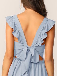 Tie Back Ruffle Trim Dress Bustier Dress, Tie Dress, Mesh Dress, Dress Backs, Fit Flare Dress, Fit And Flare, Dress Outfits, Casual Dresses, Shirred Dress