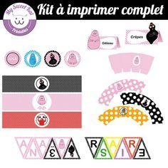 kit à imprimer pour sweet table thème Barbapapa, topper, wrapper pour cupcakes... pour anniversaire, fête, baptème